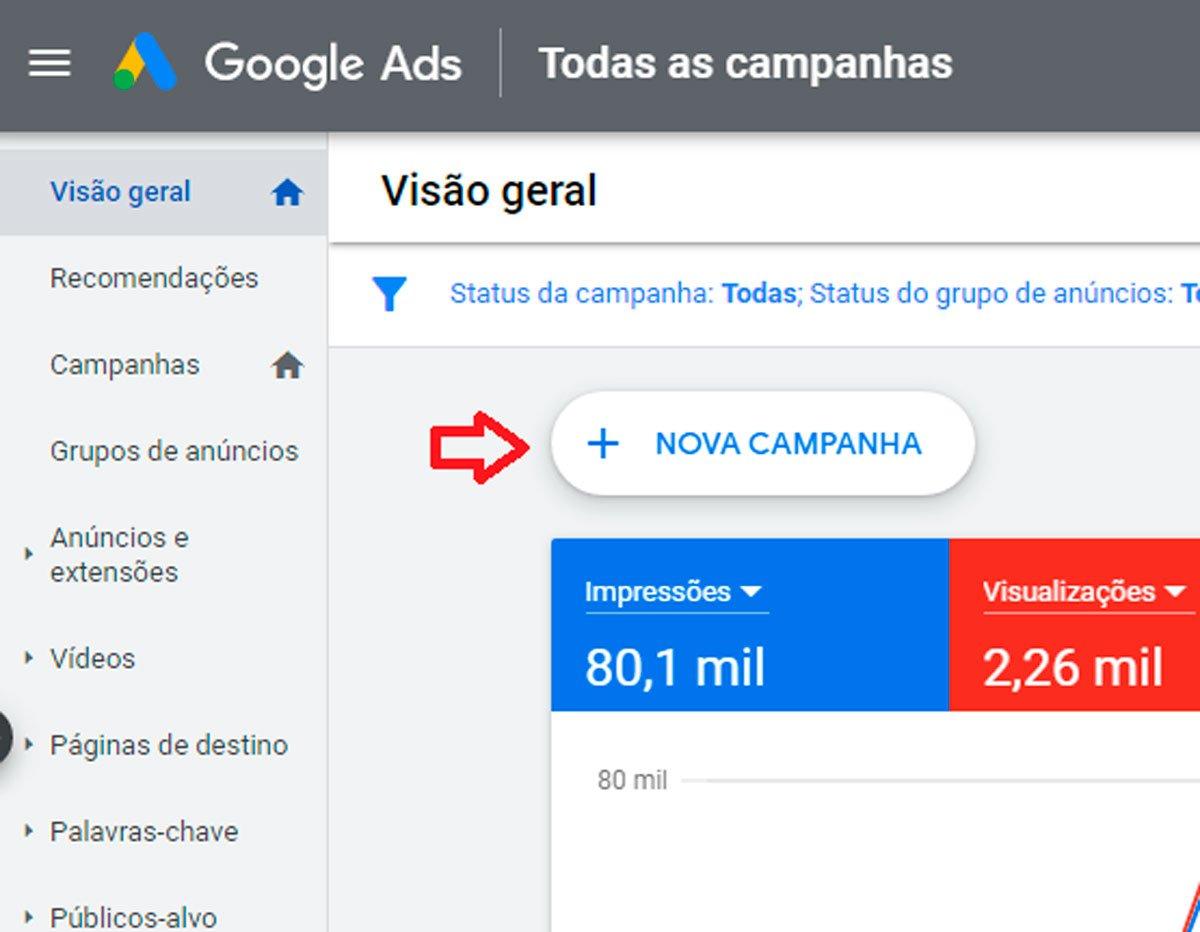 criar nova campanha no google ads